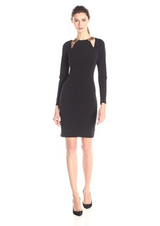 HALSTON HERITAGE Women's Long Sleeve Round Neck Fitted Dress with Cut Outs