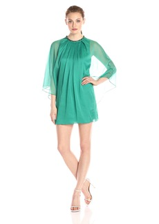 HALSTON HERITAGE Women's Long Sleeve Round Neck Flowy Dress with Square Ring Detail
