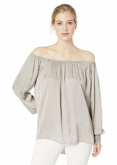 Halston Heritage Women's Long-Sleeve Ruched Neck Top with Smock Cuffs