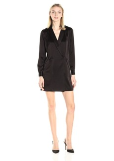 HALSTON HERITAGE Women's Long Sleeve Satin Shirt Dress