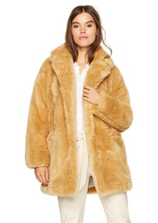 Halston Heritage Women's Long Sleeve Short Faux Fur Double Breast Coat  M