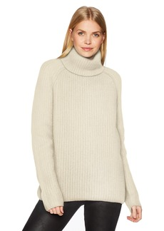 Halston Heritage Women's Long Sleeve Turtleneck Stitch Detail Sweater  L