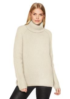 Halston Heritage Women's Long Sleeve Turtleneck Stitch Detail Sweater  L