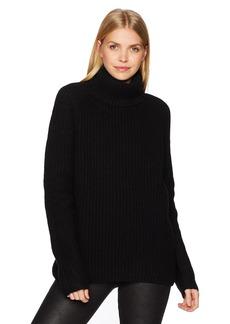 Halston Heritage Women's Long Sleeve Turtleneck Stitch Detail Sweater  M