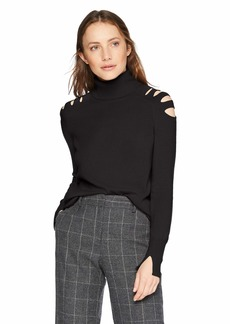 Halston Heritage Women's Long Sleeve Turtleneck Sweater with Cut Outs