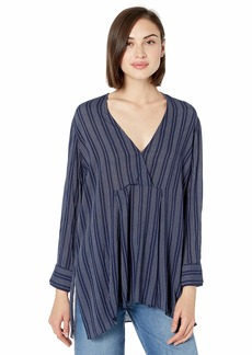 Halston Heritage Women's Long Sleeve V Neck Oversized Striped TOP Dark Navy/Chalk M