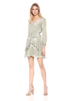 Halston Heritage Women's Long Sleeve V Neck Printed Flounce Dress  Extra Small
