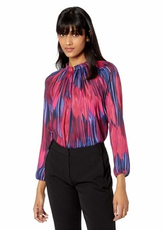 Halston Heritage Women's Long Sleeve V-Neck Printed Top with Pleated Collar Fuchsia/Tulip Impressionist Floral M