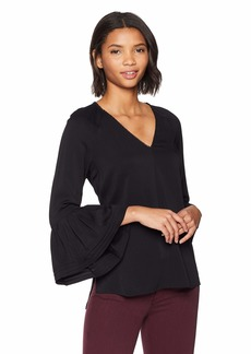 Halston Heritage Women's Long Sleeve V Neck Ruched Top