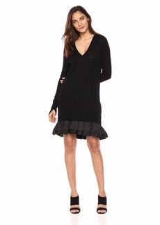 Halston Heritage Women's Long Sleeve V Neck Sweater Dress with Ruffle Hem
