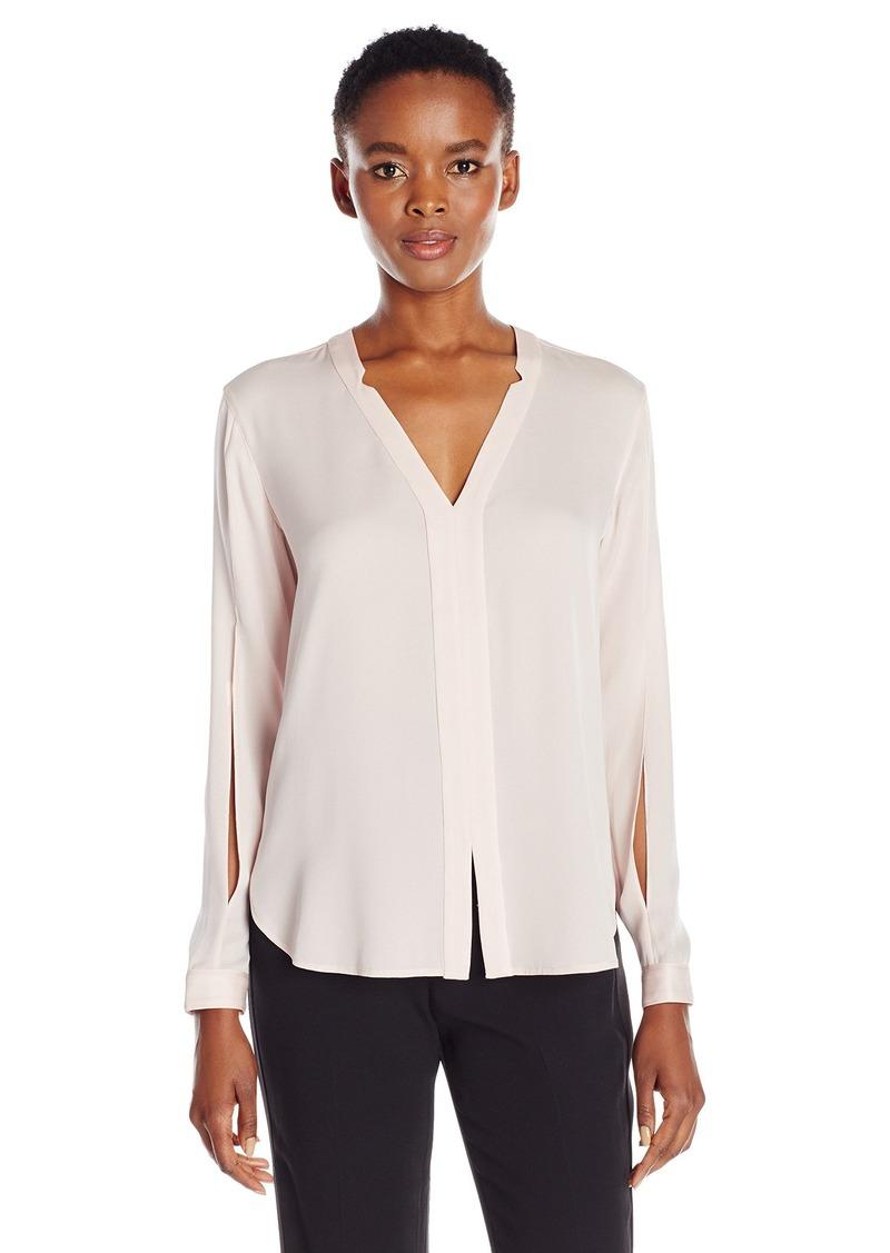 HALSTON HERITAGE Women's Long Sleeve V Notch Neck Silk Top