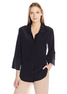 Halston Heritage Women's Long Sleeve Wide Cuff Washed Silk Shirt