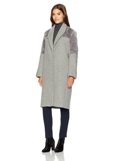 Halston Heritage Women's Long Sleeve Wool/Faux Fur Combo Coat  L