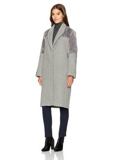 Halston Heritage Women's Long Sleeve Wool/Faux Fur Combo Coat  XS
