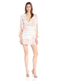HALSTON HERITAGE Women's L/S V Neck Printed Dress W Silt Slvs and Delicate Cor