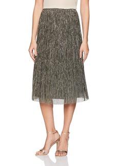 Halston Heritage Women's Metallic Jersey Midi Skirt