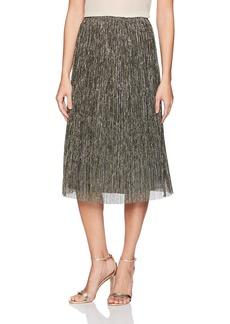 Halston Heritage Women's Metallic Jersey Midi Skirt  Extra Small