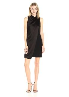 HALSTON HERITAGE Women's Mock Neck Drape Front Dress  L