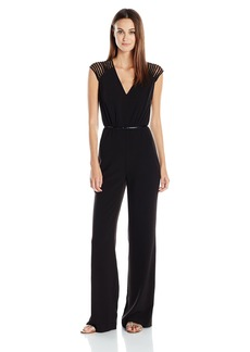 Halston Heritage Women's Multi Strap Emellished Sleeve V-Neck Jumpsuit