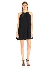 Halston Heritage Women's Multi Strip Sleeve High Neck A-line Dress  S