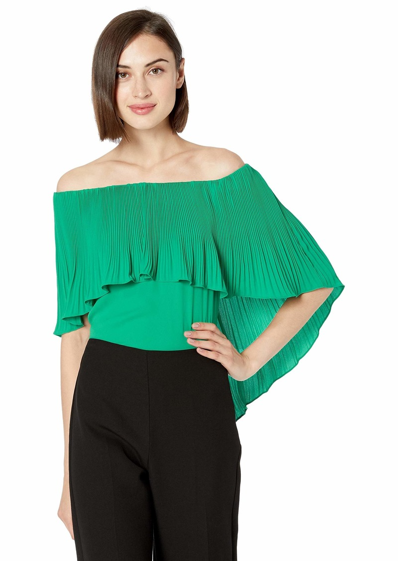 Halston Heritage Women's Off Shoulder Pleated Cape TOP  XL