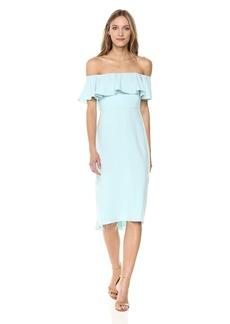 Halston Heritage Women's Off Shoulder Flounce Detail Crepe Dress