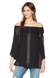 Halston Heritage Women's Off Shoulder Flowy Sleeve Printed Top