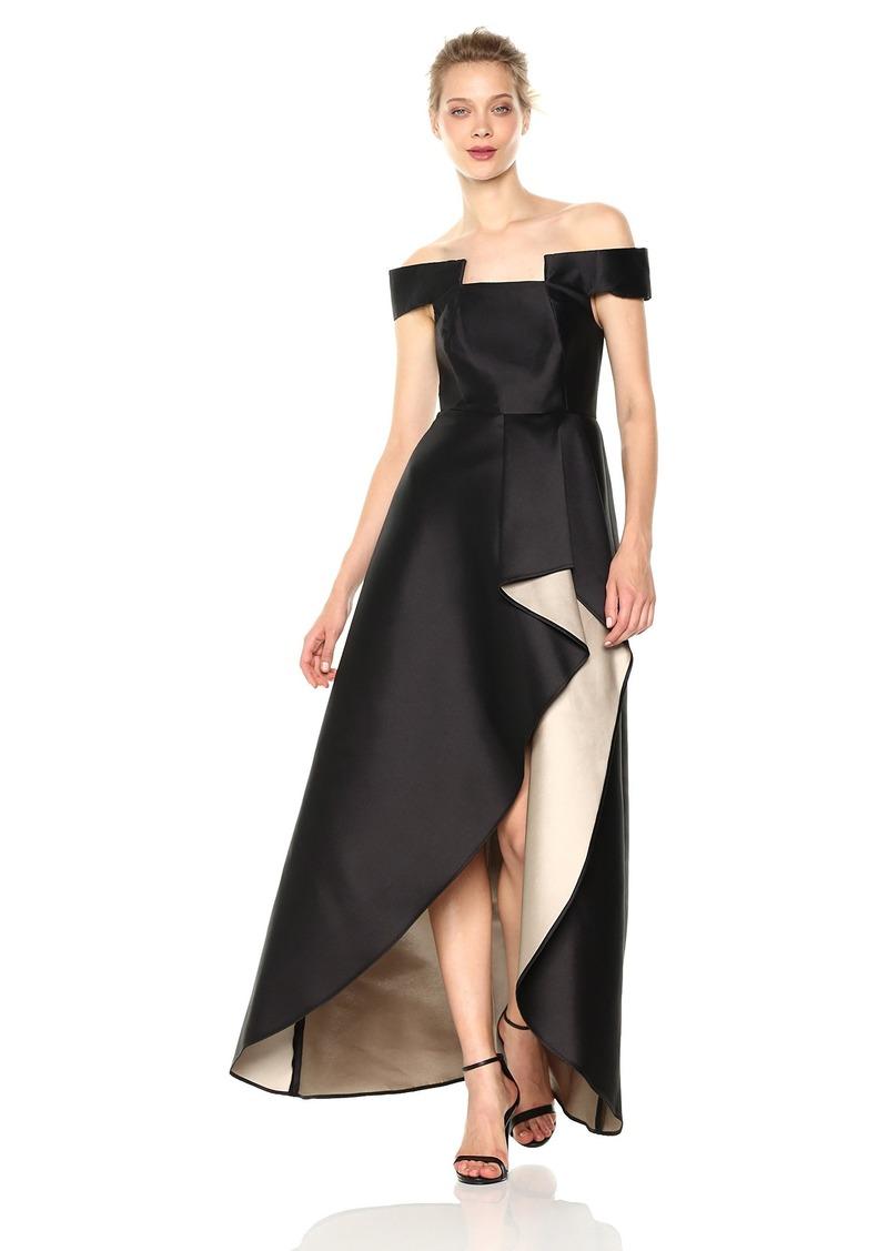 Halston Heritage Women's Off Shoulder Geo Neck Gown with Sheer Skirt