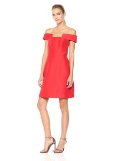 HALSTON HERITAGE Women's Off Shoulder Geometric Neck Silk Faille Dress