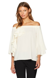 Halston Heritage Women's Off Shoulder Ruffle Detail Silk Georgette Top