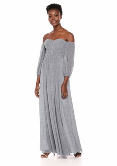 Halston Heritage Women's Off-Shoulder Sweetheart Neck Pleated Gown Slate Blue Pixel dots Print