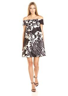 HALSTON HERITAGE Women's Off Shoulder Printed Swing Dress