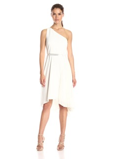 HALSTON HERITAGE Women's One Shldr Asym Dress W Pleatd Skirt Insert and Blt
