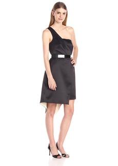 HALSTON HERITAGE Women's One Shoulder Asymmetrical Hem Cocktail Dress Black/Champagne