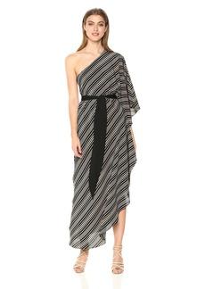 Halston Heritage Women's One Shoulder Asymmetrical Tie Waist Detail Gown