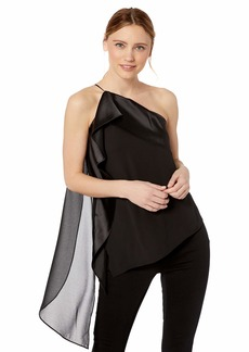 Halston Heritage Women's One-Shoulder Asymmetrical Top with Satin Drape
