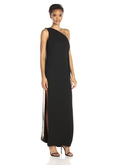 HALSTON HERITAGE Women's One Shoulder Column Gown with Cape
