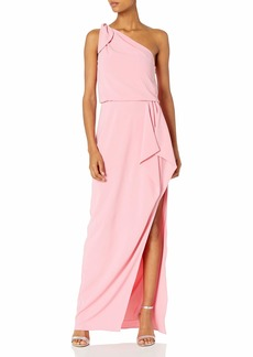 Halston Heritage Women's One Shoulder Crepe Gown with Flounce Drape