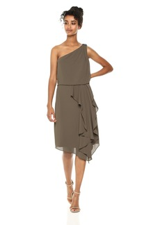 Halston Heritage Women's One Shoulder Drape Detail Dress with Embellishment sage