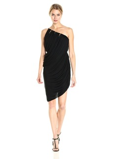Halston Heritage Women's One Shoulder Draped Jersey Dress  L