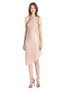 Halston Heritage Women's One Shoulder Draped Metallic Jersey Dress Primrose S