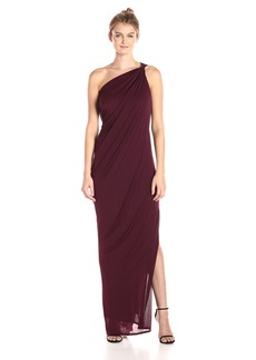 Halston Heritage Women's One Shoulder Draped Jersey Gown with Slit BlackBerry S