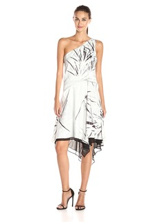 Halston Heritage Women's One Shoulder Dress With Draped Skirt chalk Graphic Burst Print