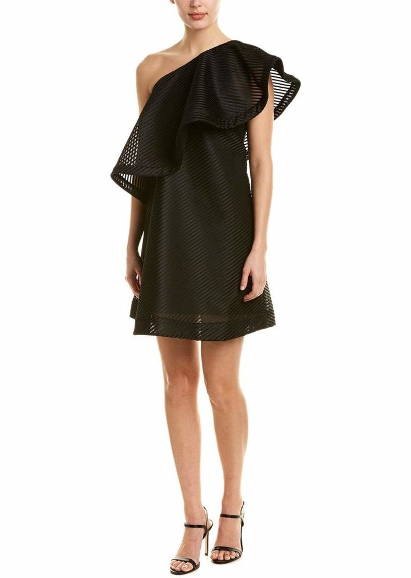 Halston Heritage Women's One Shoulder Flounce Stripe Mesh Dress