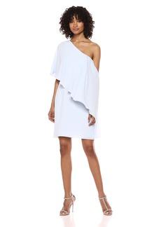 Halston Heritage Women's One Shoulder Flowy Drape Front Dress