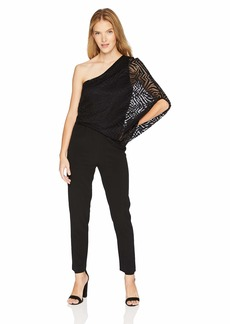 Halston Heritage Women's One Shoulder Lace Jumpsuit with Beading