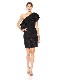 HALSTON HERITAGE Women's One Shoulder Metallic Knit Dress with Flounce