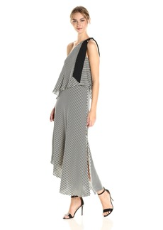 Halston Heritage Women's One Shoulder Mini Stripe Flowy Dress Black Print M