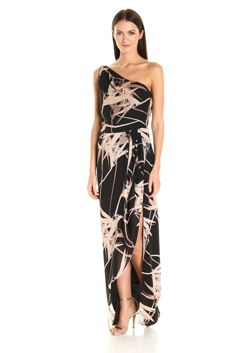 Halston Heritage Women's One Shoulder Printed Gown with Flounce Drape Black Paradise