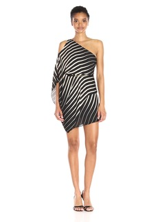 Halston Heritage Women's One Sleeve Asymmetric Neck Printed Dress with Belt Black/Oyster Cascading Stripe